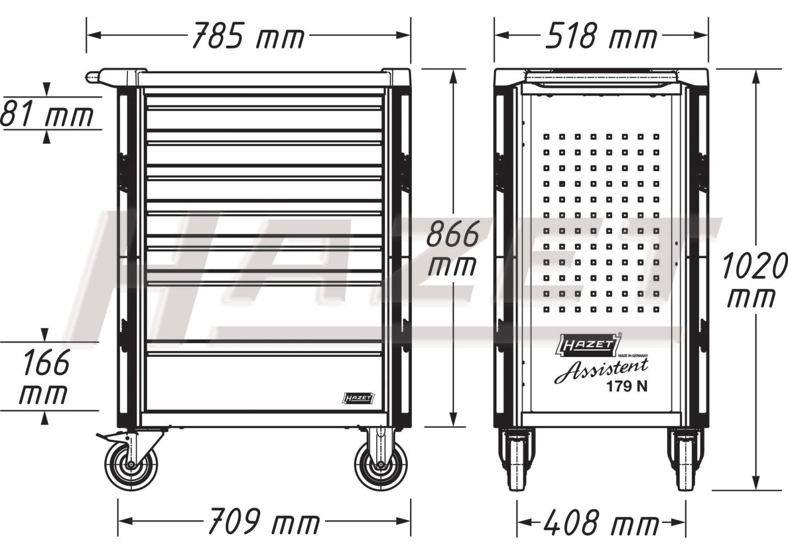Tủ đồ nghề 8 ngăn 300 chi tiết Hazet 179N-8-RAL7021/300 Volkswagen