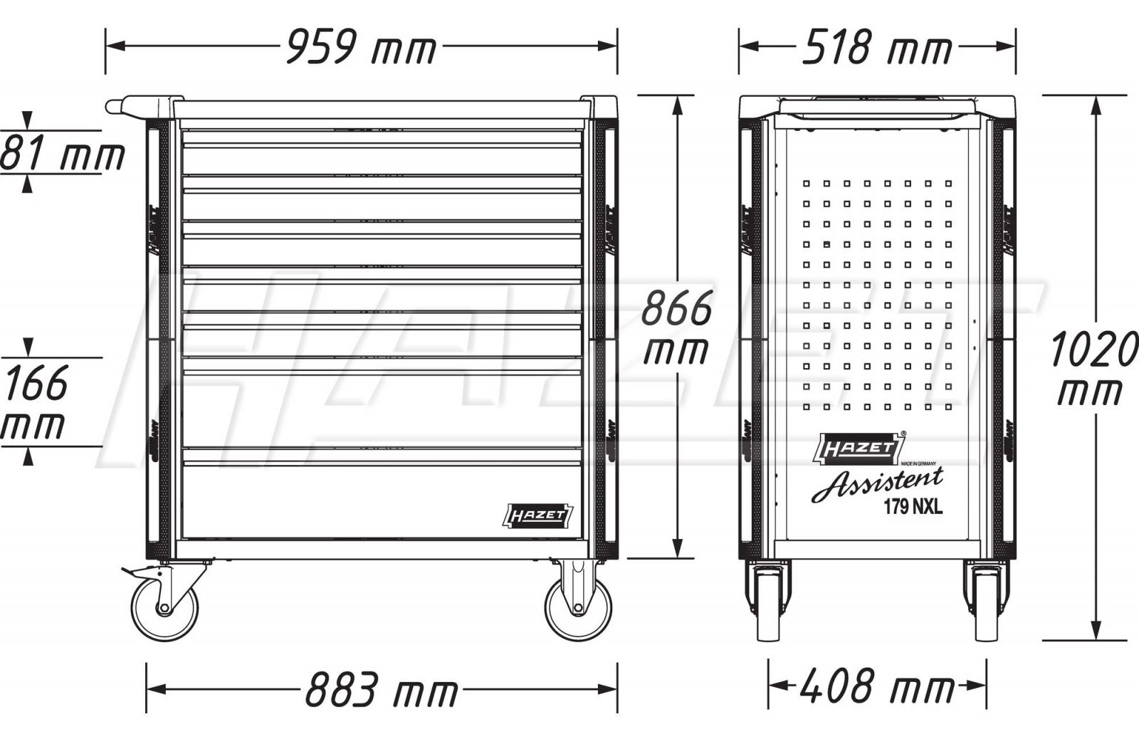 Tủ đồ nghề 7 ngăn 243 chi tiết Hazet 179NXL-8-VW/243 Volkswagen