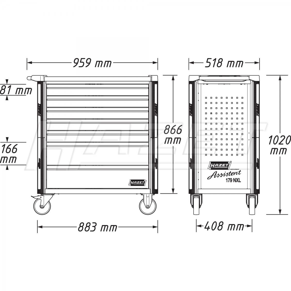 Tủ đồ nghề 8 ngăn không dụng cụHazet 179NXL-8-VW